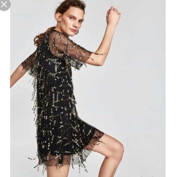 f52430e0 Zara Dresses Tel Sequin Black Sheer Party Dance Dress Poshmark. Image Is Loading  Zara New Aw18 Sequin Dress Black Gold Velvet